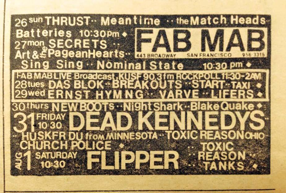 Hüsker Dü Fab Mab calendar, 31 Jul 1981
