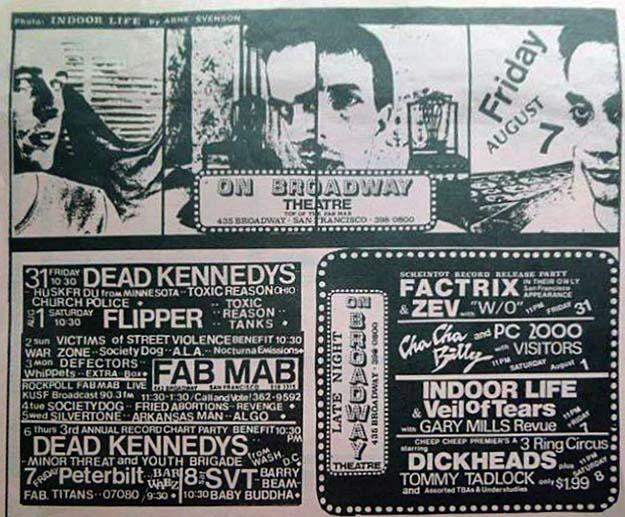 Hüsker Dü Fab Mab print ad, 31 Jul 1981