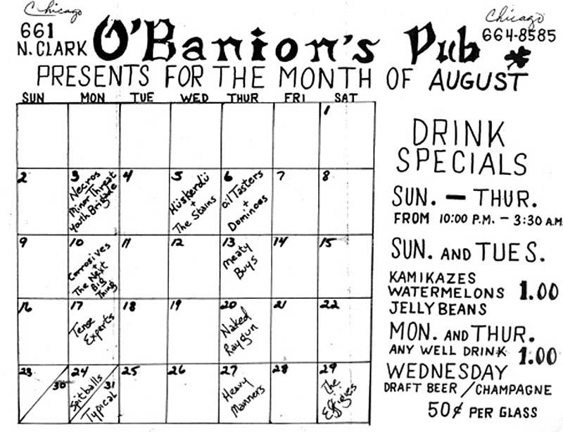 Hüsker Dü club calendar, O'Banion's, Chicago, 05 Aug 1981