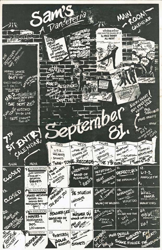 Hüsker Dü club calendar, 05, 23 Sep 1981