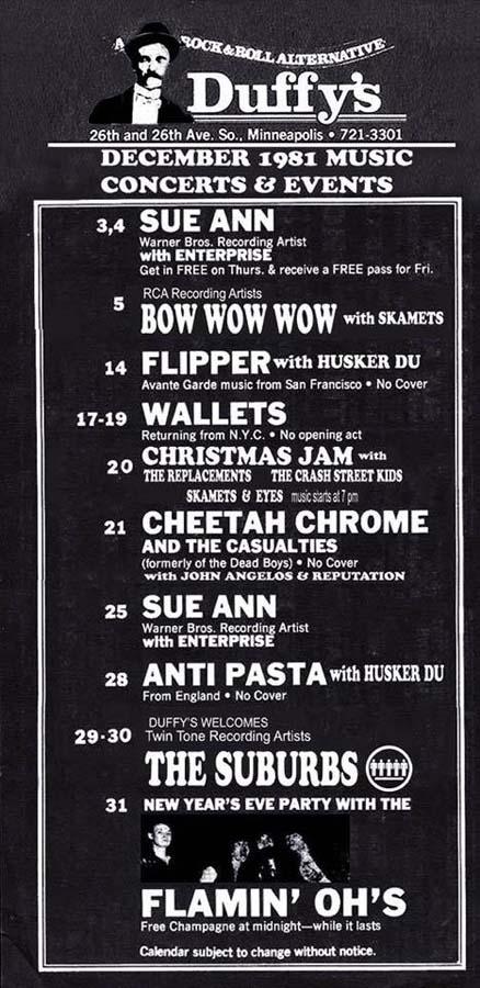 Hüsker Dü club calendar, 14 & 28 Dec 1981