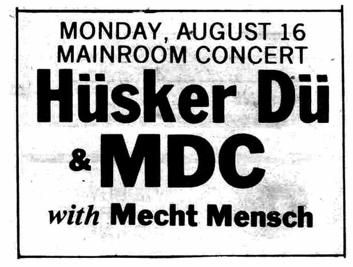 Hüsker Dü 16 Aug 1982