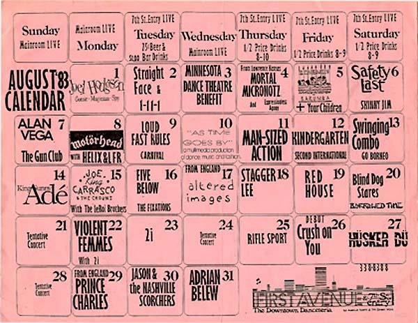 Hüsker Dü 1st Ave Aug 1983 calendar