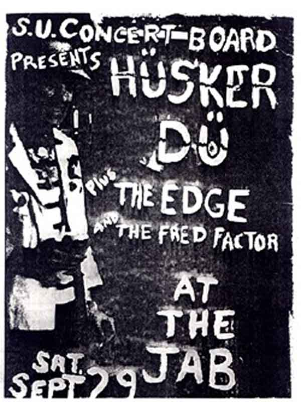 Hüsker Dü flyer, 29 Sep 1984, Jabberwocky, Syracuse University (1)