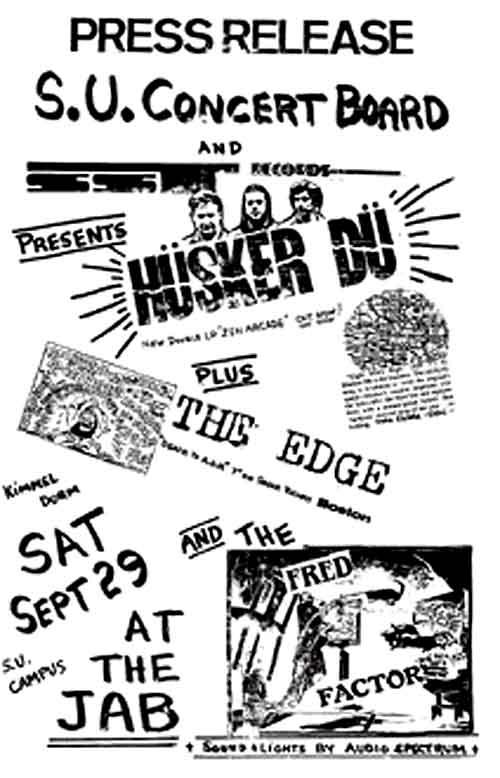 Hüsker Dü flyer, 29 Sep 1984, Jabberwocky, Syracuse University (2)