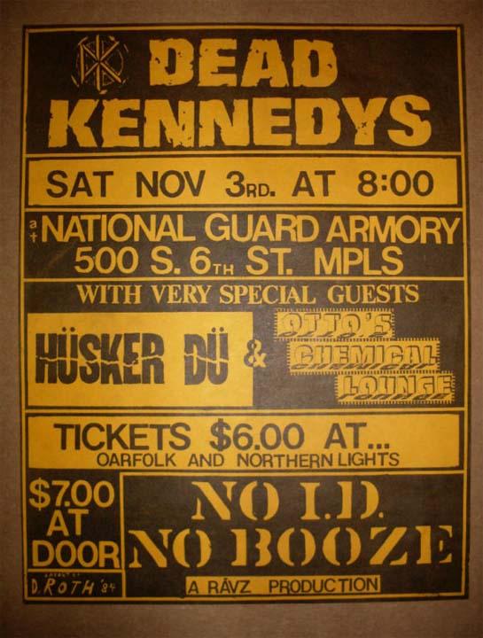 Hüsker Dü flyer, 03 Nov 1984, National Guard Armory, Minneapolis