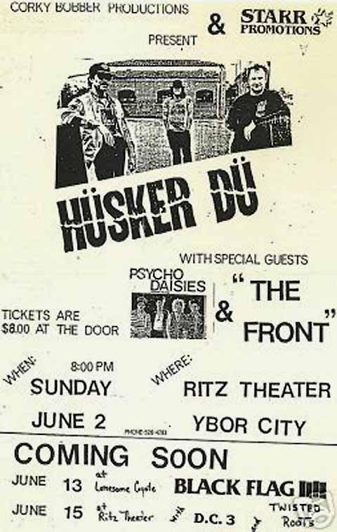 Hüsker Dü flyer, 02 Jun 1985, Ritz Theater, Ybor City FL