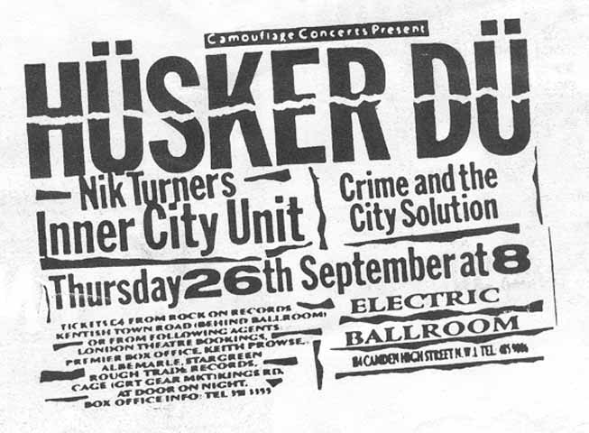 Hüsker Dü flyer, 26 Sep 1985, Electric Ballroom, London