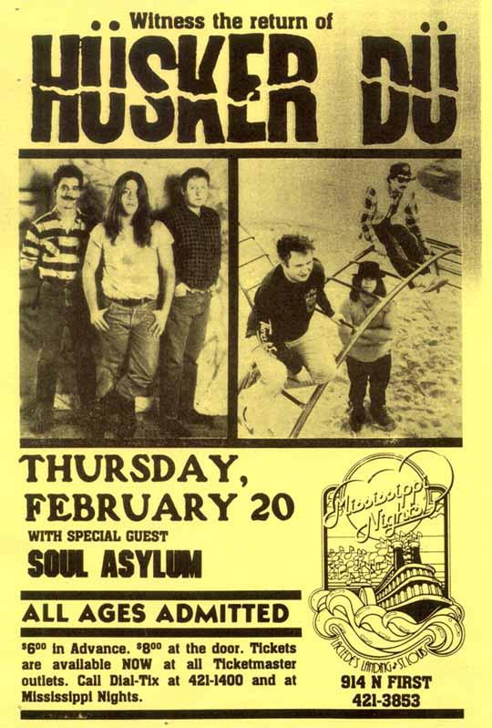 Hüsker Dü 20 Feb 1986 flyer