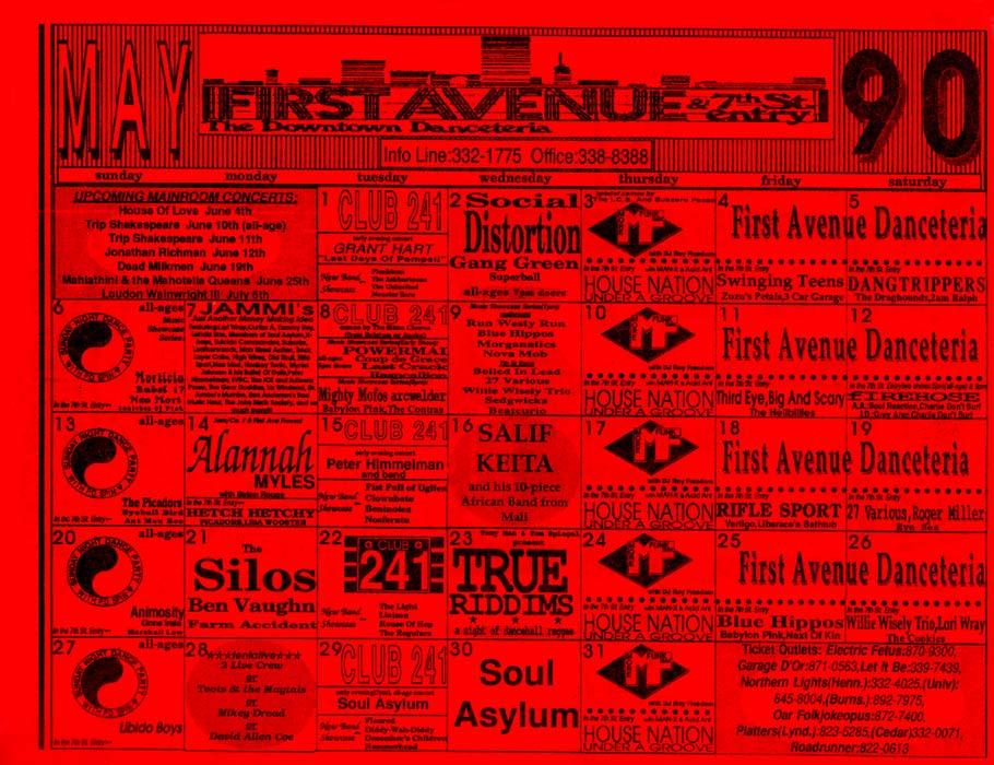 1990 Calendar.Grant Hart Nova Mob 01 May 09 May 1990 Calendar Flyer