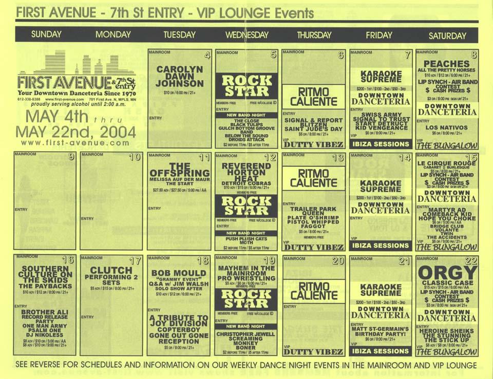 Bob Mould 18 May 2004 Calendar